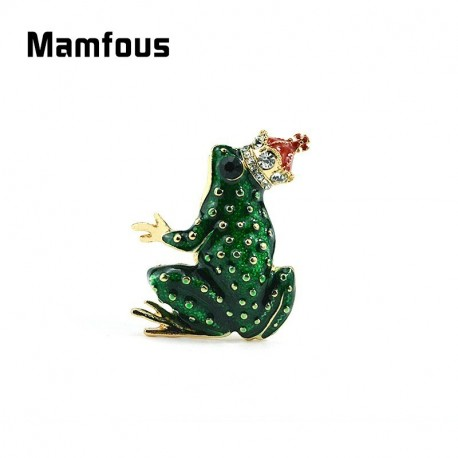 Mamfous Red Rhinestone Crown Green Enamel Frog Brooch Jewelry Metal Animal Collar Pins For Women Clothes Hat Scarf Corsage Decorations