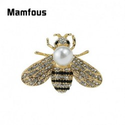 Mamfous Crystal Bee Brooch Rhinestone PinUnisex Insect Brooches For Women's Unisex Hat Scarf Collar Cuff Borach Jewelry Spile